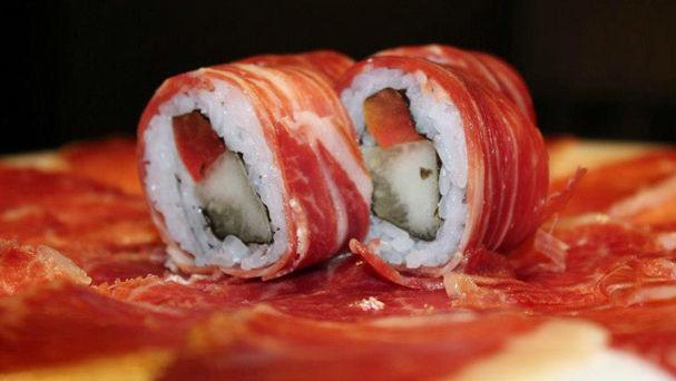 sushi con jamón ibérico