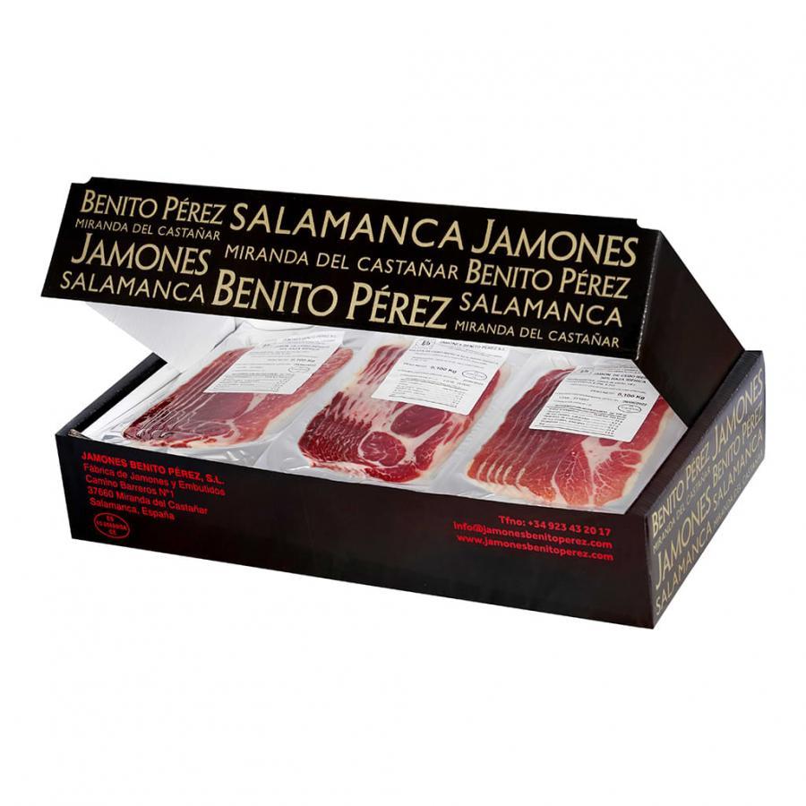 30 sachets de 100 g de Jambon de Cebo et d'Épaule de Cebo 50% Ibérique